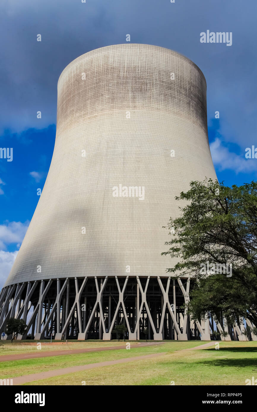 Outside a Cooling Tower for Coal Burning Power Station - Stock Image