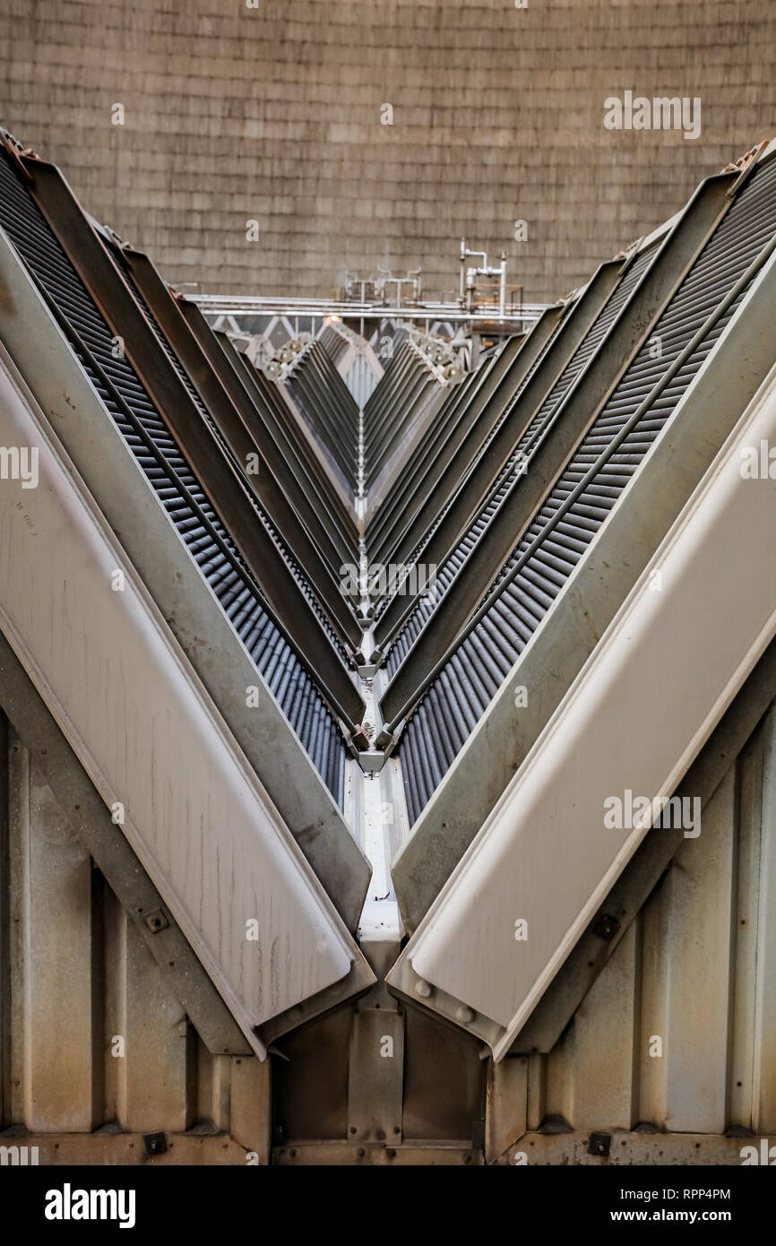 Inside a Cooling Tower for Coal Burning Power Station - Stock Image