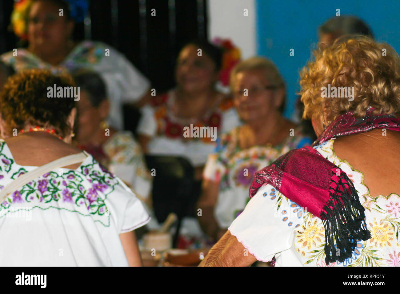 Elderly women wearing colorful traditional costumes during the day of the dead annual celebration in Merida, Yucatan, Mexico - 31.10.2018 - Stock Image