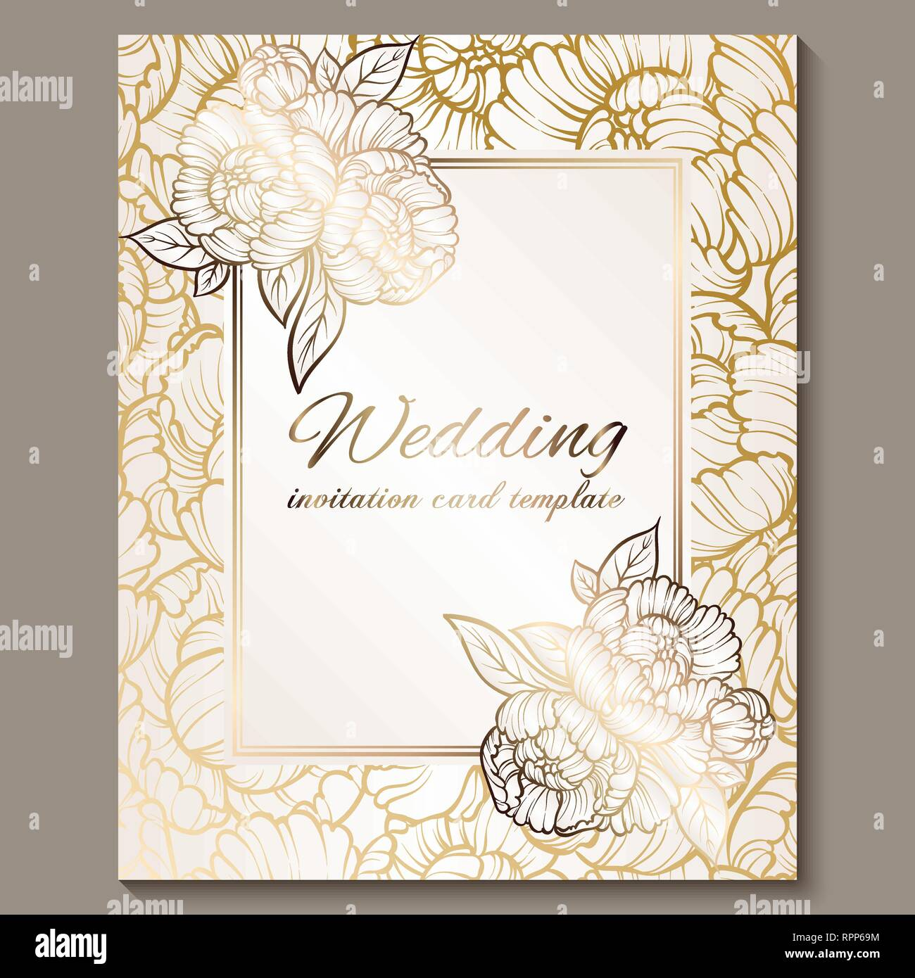 Antique Royal Luxury Wedding Invitation Gold On White Background With Frame And Place For Text Lacy Foliage Made Of Roses Or Peonies With Shiny Grad Stock Vector Image Art Alamy