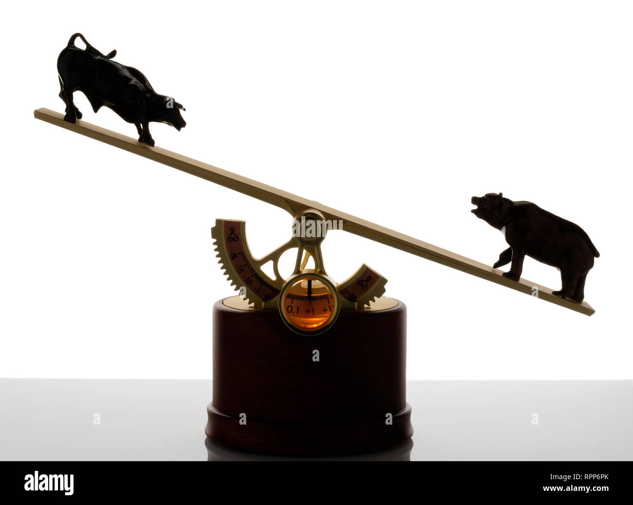 The Market, executive toy (!) that displays the balance of the stockmarket. Bull and bear at opposing ends of a see-saw. - Stock Image