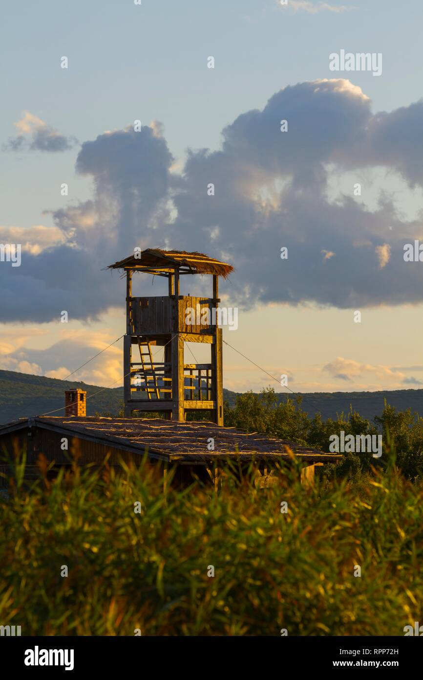 Bird-watching watchers wooden observation post Dalmatia Croatia Vrana lake Stock Photo