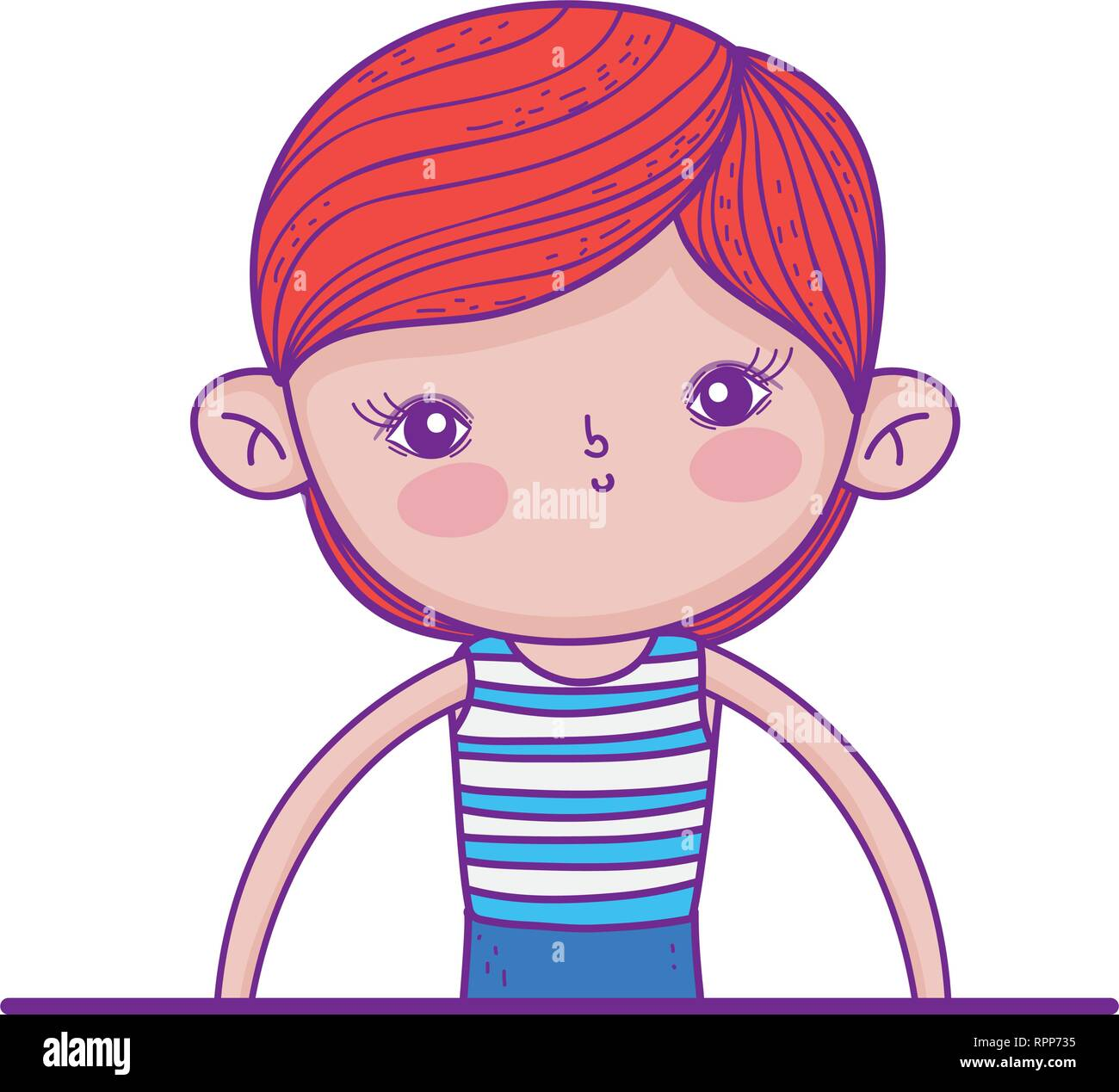 little boy with swimwear character - Stock Vector