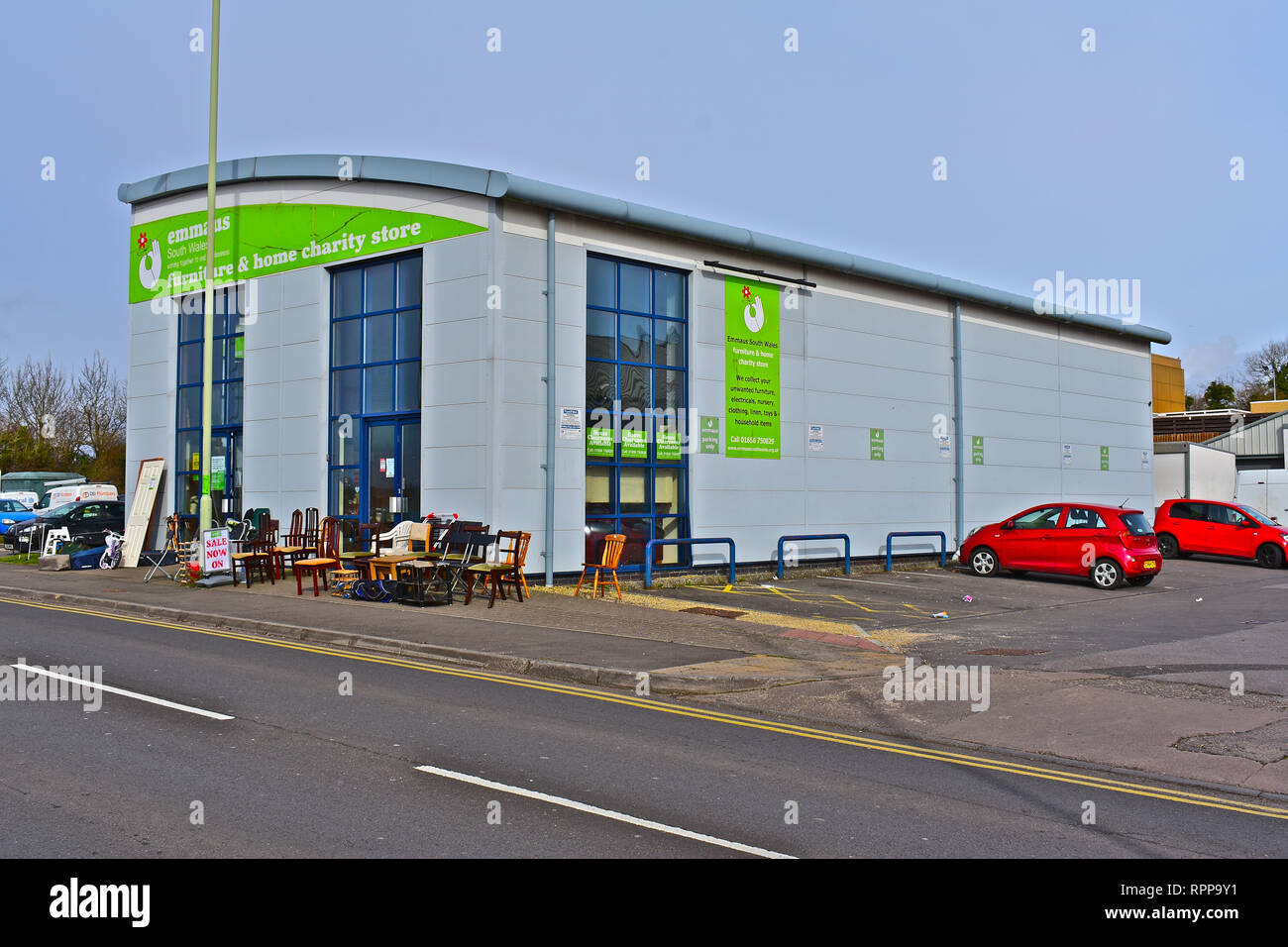 Building in Tremains Road Bridgend occupied as a shop for secondhand goods,to raise money for the  Emmaus Charity to end homelessness in UK. Stock Photo