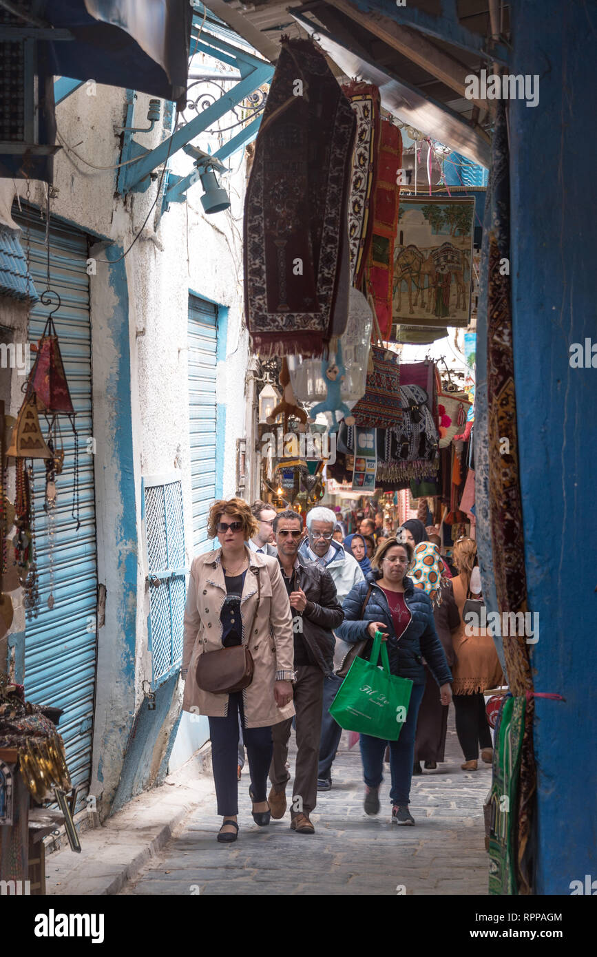 TUNIS, TUNISIA - APRIL 3: Busy and crowded market, or souk, in the medina of Tunis, Tunisia on April 3, 2018 Stock Photo