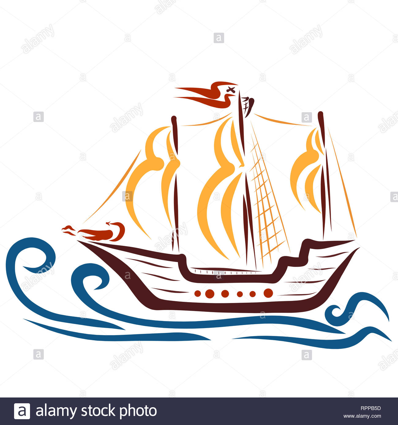 ship with sails floating on the waves, the figure of a dragon - Stock Image