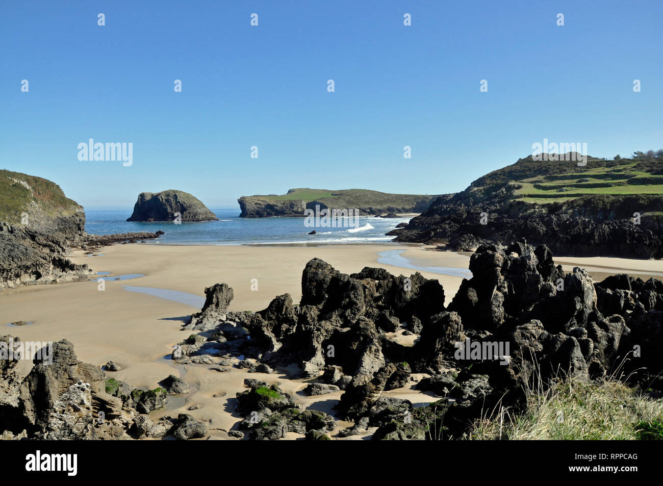 Playa de Barro on the Costa Verde near Llanes, Asturias, Spain. - Stock Image