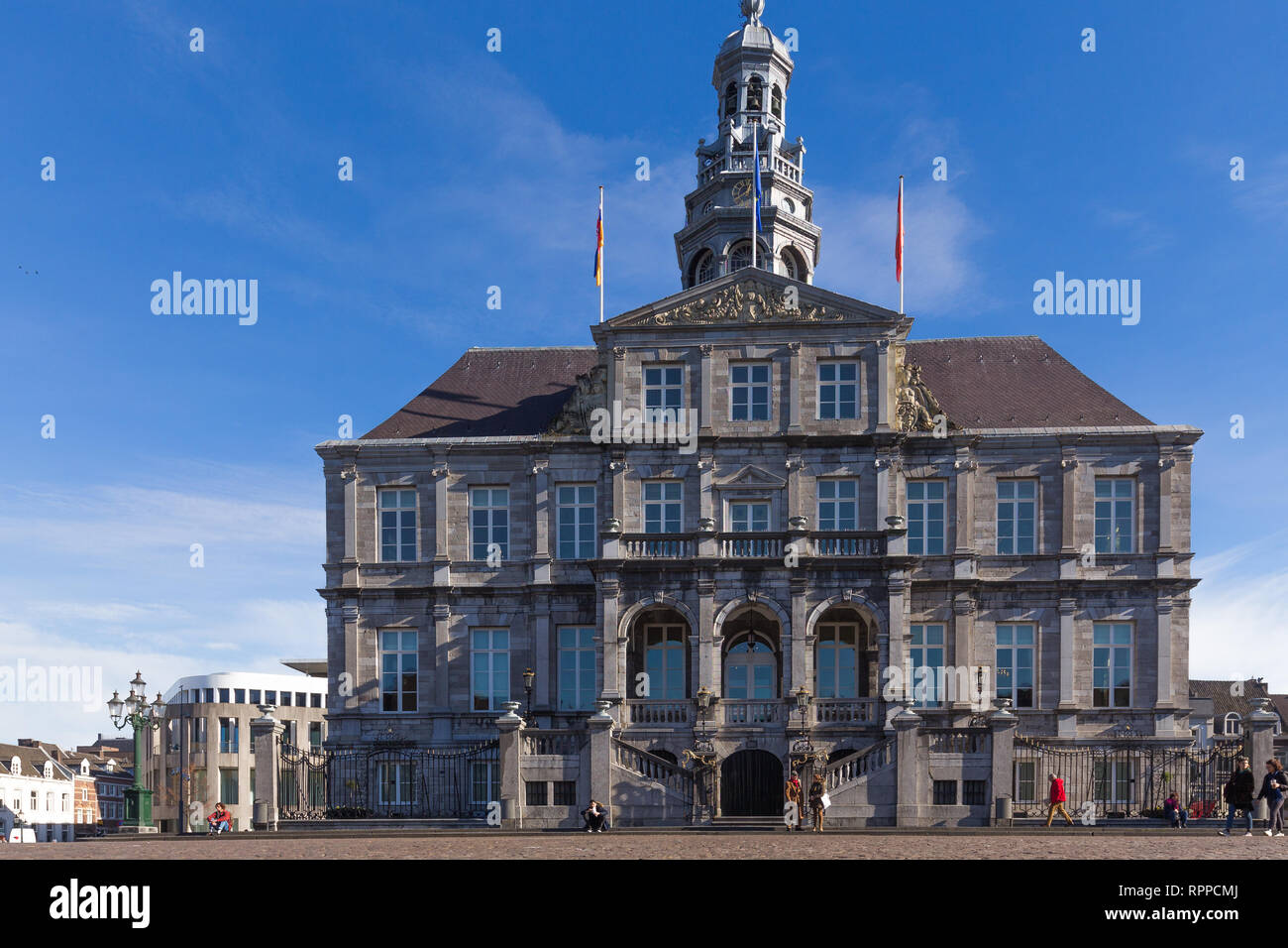 Maastricht City hall at the market square. is a symmetric building from the 17th century - Stock Image