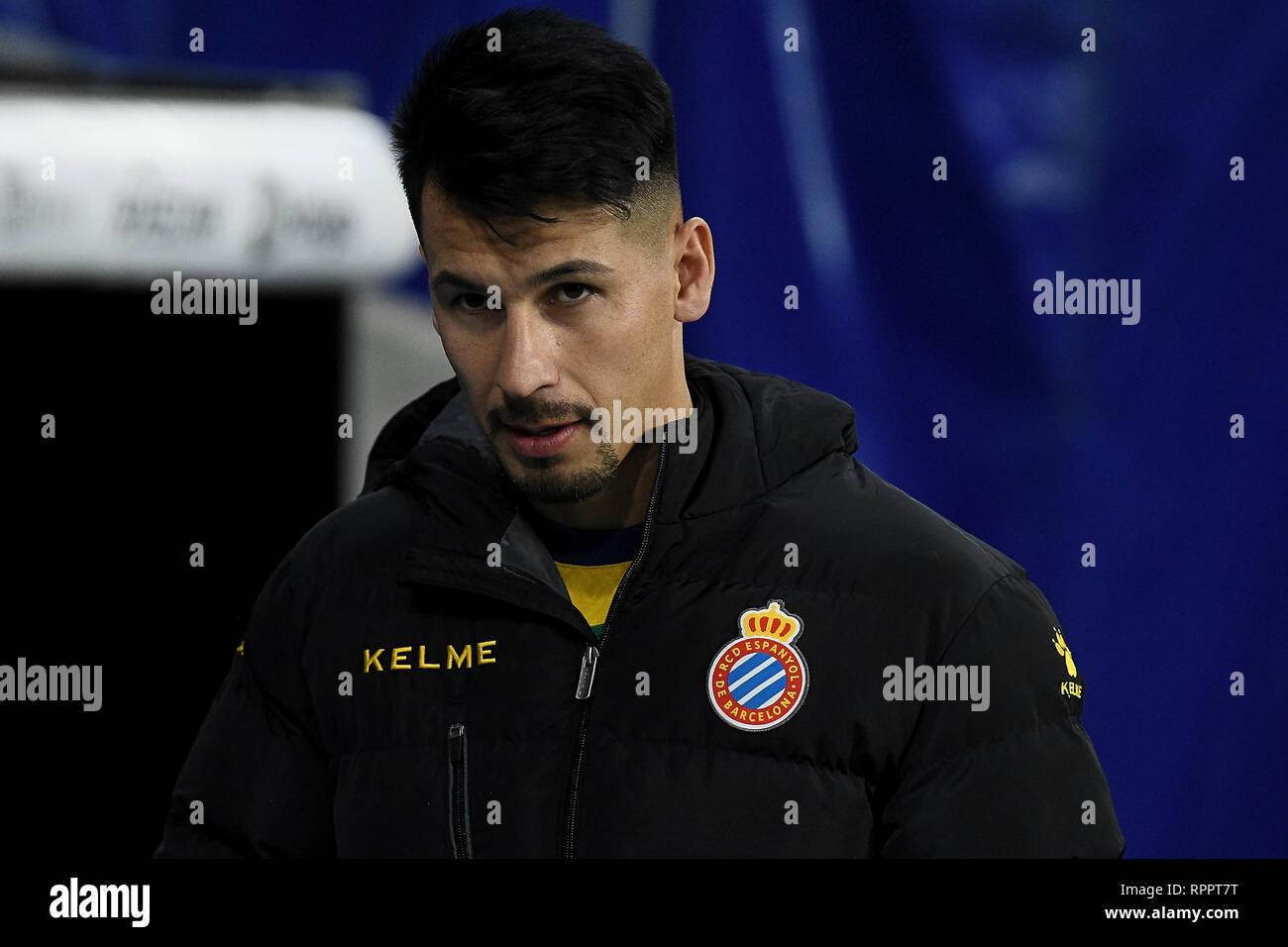 Hernan Perez of RCD Espanyol during the match between RCD Espanyol vs SD Huesca of La Liga, date 25, 2018-2019 season. RCDE Stadium. Barcelona, Spain - 22 FEB 2019. - Stock Image