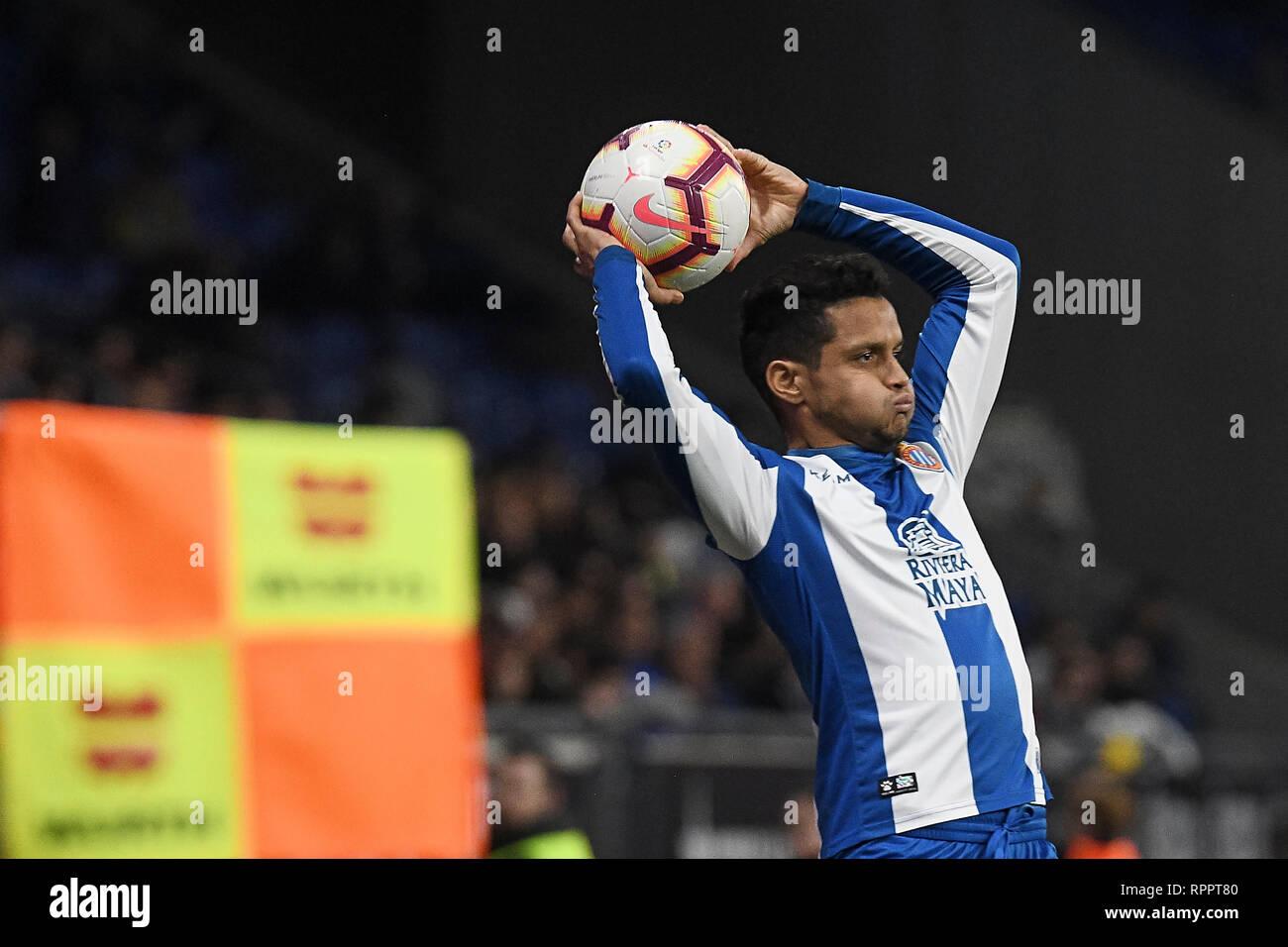 Roberto Rosales of RCD Espanyol during the match between RCD Espanyol vs SD Huesca of La Liga, date 25, 2018-2019 season. RCDE Stadium. Barcelona, Spain - 22 FEB 2019. - Stock Image