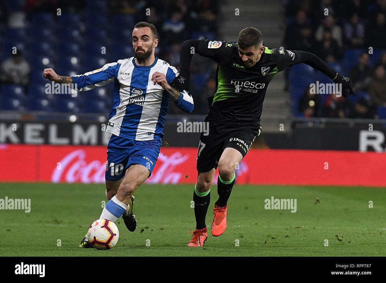 Sergi Darder of RCD Espanyol and Rivera of SD Huesca during the match between RCD Espanyol vs SD Huesca of La Liga, date 25, 2018-2019 season. RCDE Stadium. Barcelona, Spain - 22 FEB 2019. - Stock Image