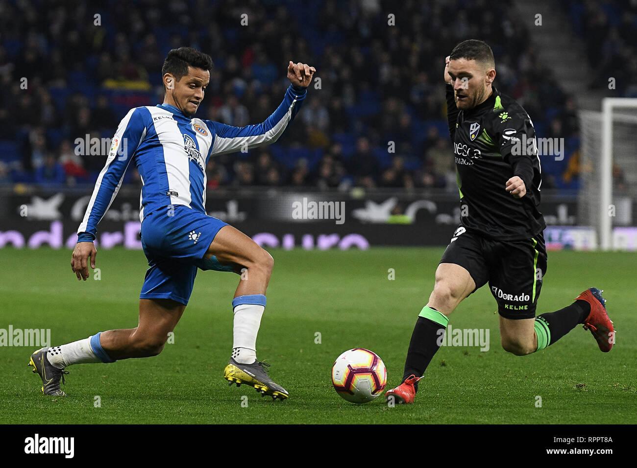 Roberto Rosales of RCD Espanyol and Javi Galan of SD Huesca during the match between RCD Espanyol vs SD Huesca of La Liga, date 25, 2018-2019 season. RCDE Stadium. Barcelona, Spain - 22 FEB 2019. - Stock Image
