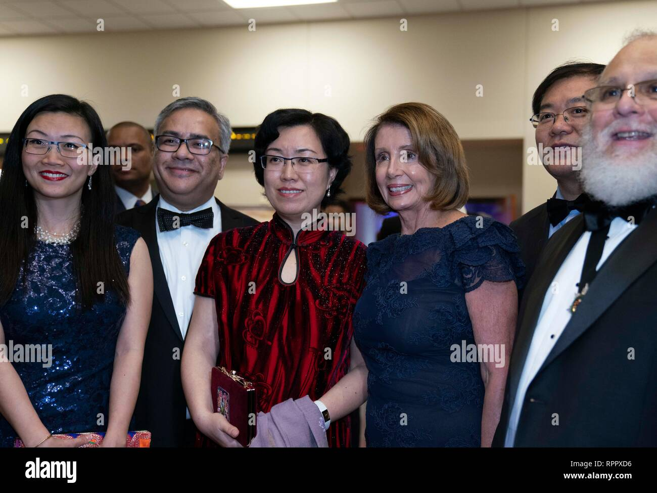 Speaker of the United States House of Representatives Nancy Pelosi poses at a cocktail party as an honored guest of the George Washington's Birthday celebration in the border city of Laredo, Texas. - Stock Image