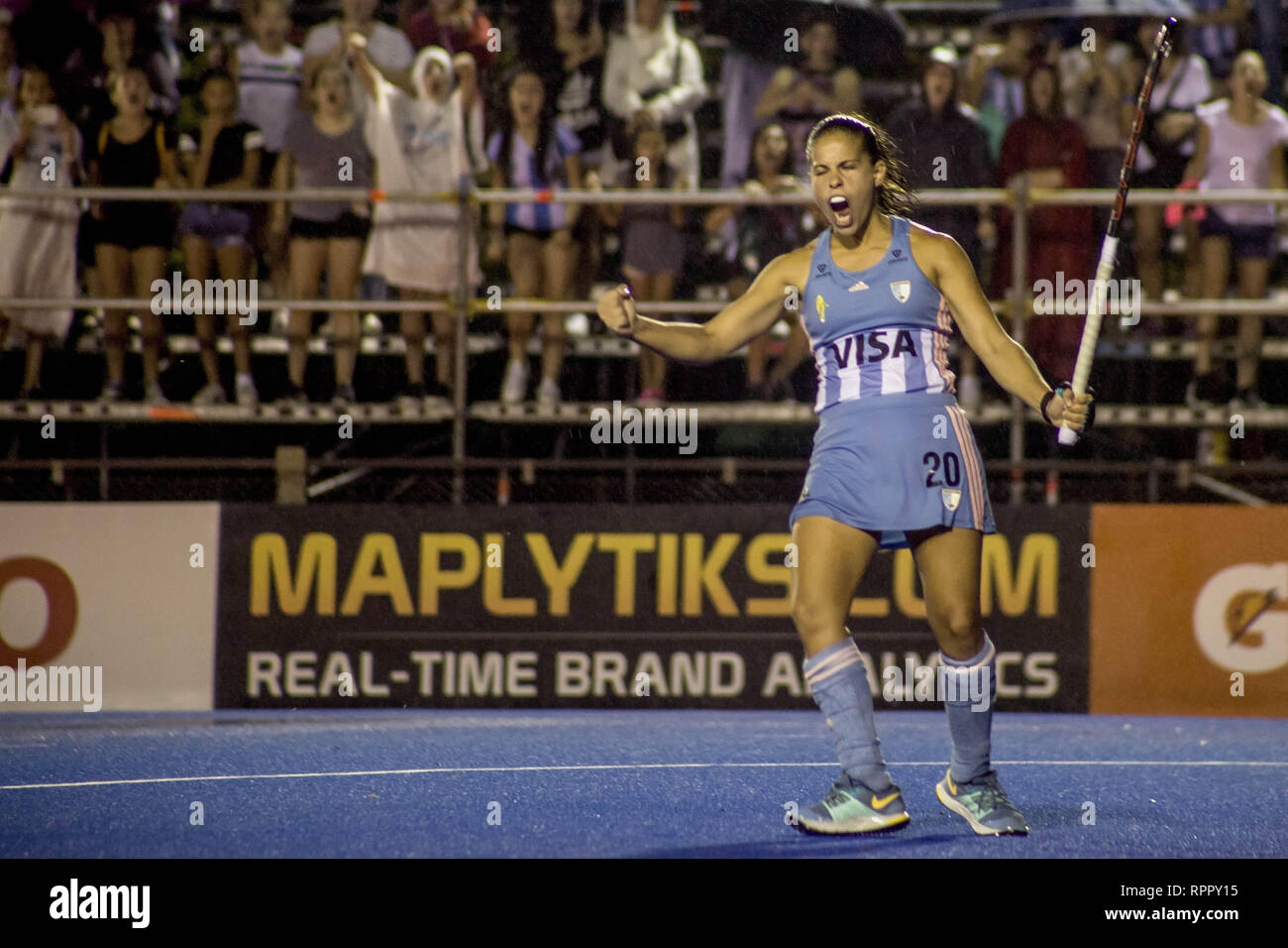 Buenos Aires, Federal Capital, Argentina. 22nd Feb, 2019. Today, Friday, February 22, the women's team of Hockey Argentina, ''Las Leonas'', maintained the unbeaten by drawing 2 goals with the German national team (5th in the world ranking) after defeating Belgium and equaling against the United States. The Argentines (4th in the world ranking) achieved an additional point by winning in penal 4 goals by 3. Their next challenge will be this Sunday, February 24 against the Dutch team. The match between the Argentine teams of Argentina vs Germany was suspended due to the strong storm that b Stock Photo