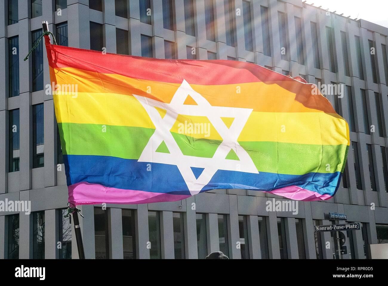 Munich, Bavaria, Germany  23rd Feb, 2019  An LGBT styled Israel flag