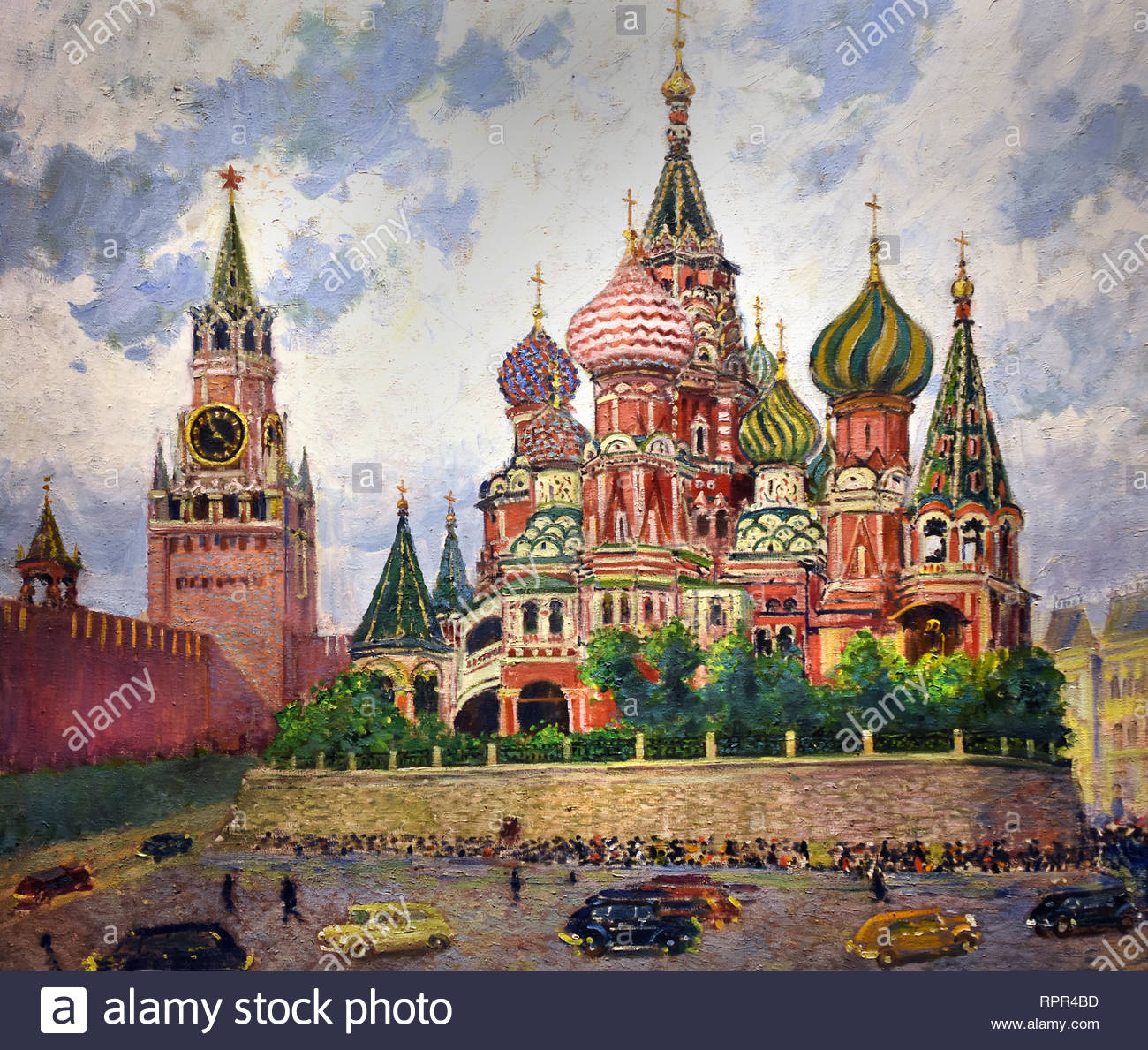 Moscow St Basil Cathedral 1947. by Alexander Gerasimov. Soviet Union Communist Propaganda (Russia under Lenin and Stalin1921-1953 ). - Stock Image