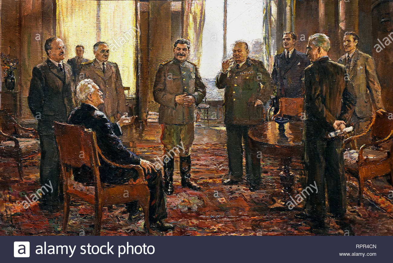 Yalta Conference - Crimean Conference - Argonaut Conference. Crimean Conference (Churchill, Roosevelt, Stalin,) 1945 by Dmitri Nalbandian. Soviet Union Communist Propaganda (Russia under Lenin and Stalin1921-1953 ). - Stock Image