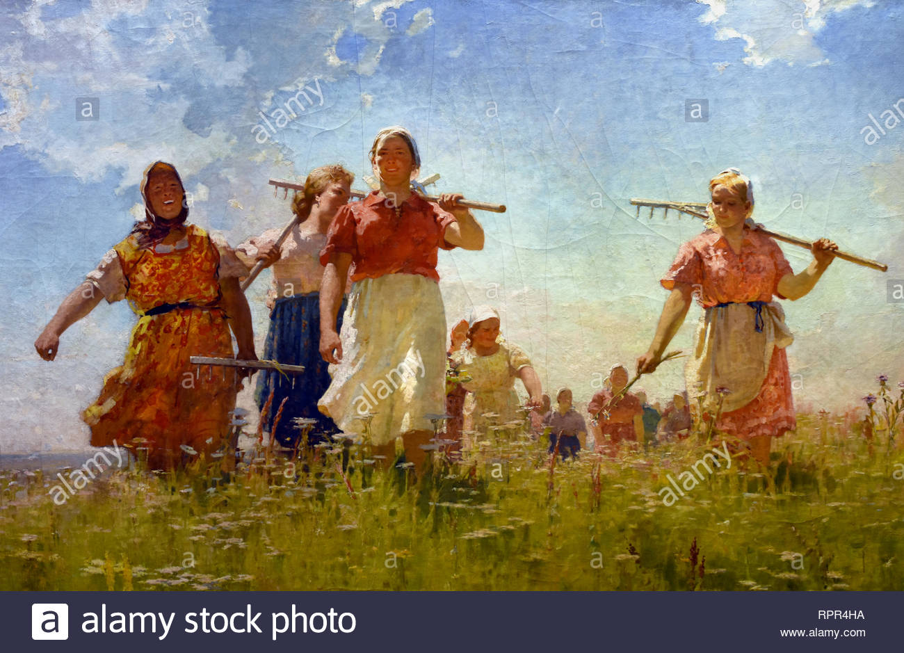 IN THE PEACE CAMPS, 1950 ANDREY MYLNIKOV. Soviet Union Communist Propaganda (Russia under Lenin and Stalin1921-1953 ). - Stock Image