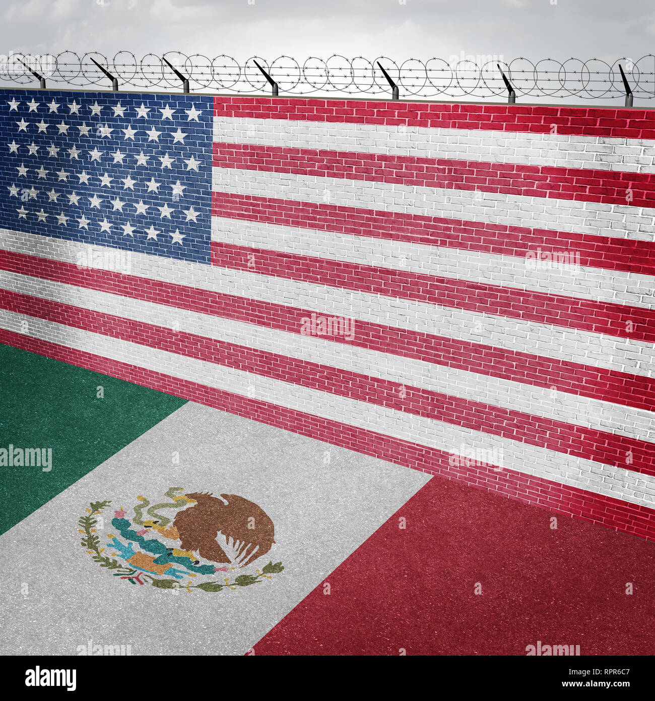 Mexico USA border wall and American homeland security along the Mexican boundary as a barrier to keep illegal immigrants out of the country. - Stock Image