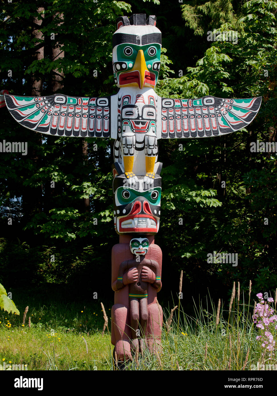 Totem Pole, Stanley Park, Vancouver, Canada - Stock Image