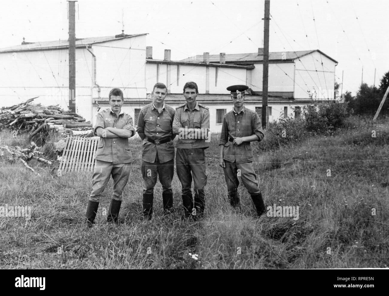 Soviet soldiers in Czechoslovakia 1989 year, near Milire, Tachov city region - Stock Image