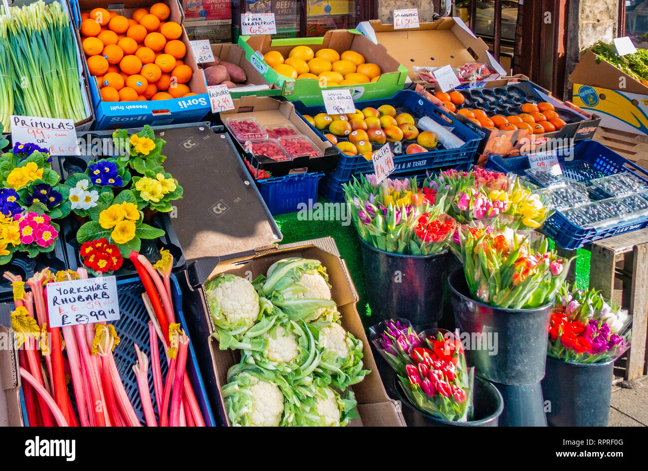 English village shop, Greengrocers shop display  in Market Place, Tickhill in the Metropolitan Borough of Doncaster in South Yorkshire, England, Stock Photo
