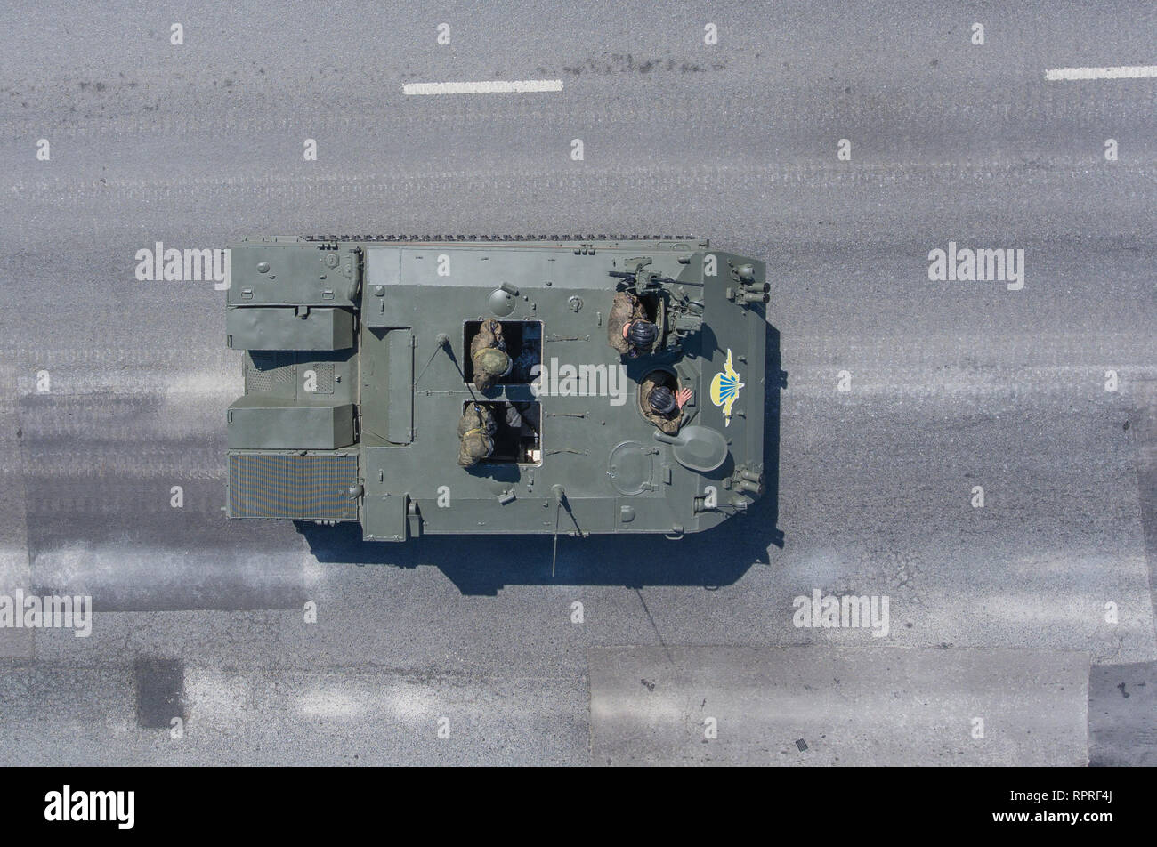 "Moscow, May 9, 2018. BTR-MDM ""Rakushka"" returns from the Red Square after the Victory Day Parade, top view. Stock Photo"