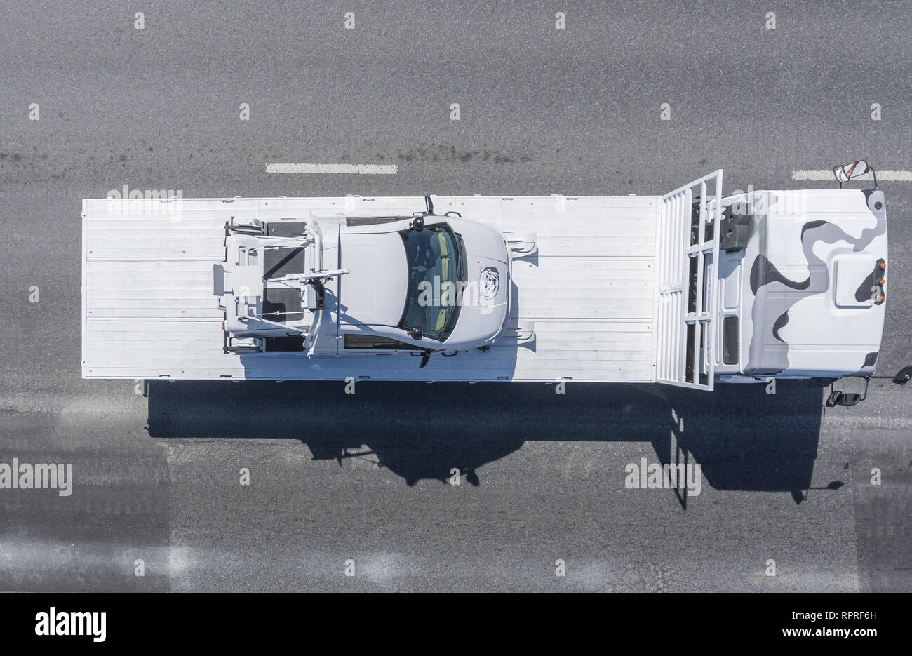 Moscow, May 9, 2018. The snowmobile TTM-1901-40 Berkut 2 is brought from Red Square after the Victory Parade, top view. - Stock Image