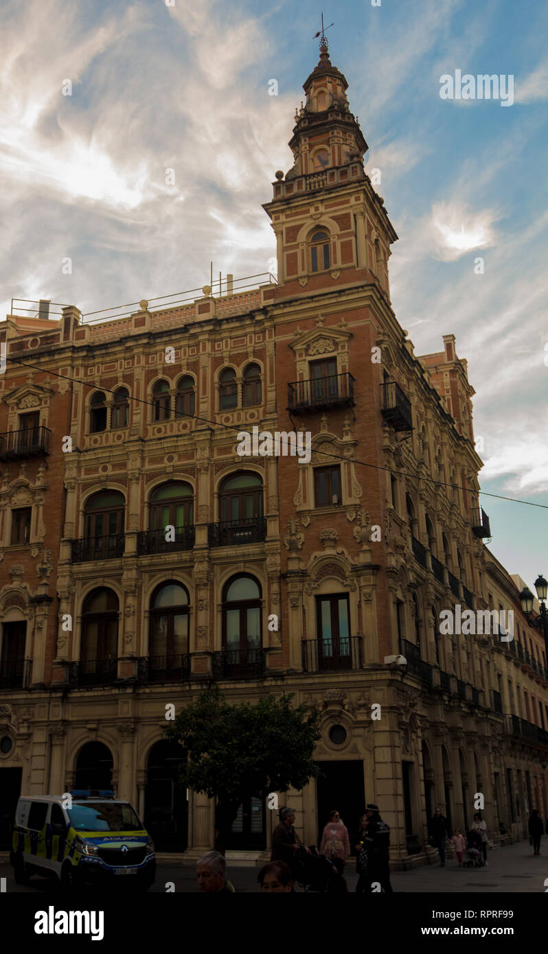 Impressing Telefonica building in downtown Seville opposite of the city hall - Stock Image