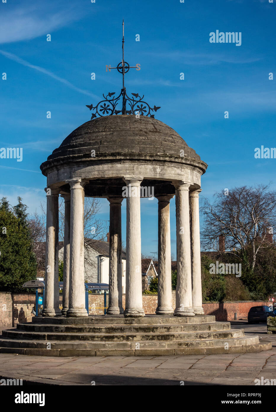 The Buttercross monument in Market Place, Tickhill in the Metropolitan Borough of Doncaster in South Yorkshire, England, Stock Photo