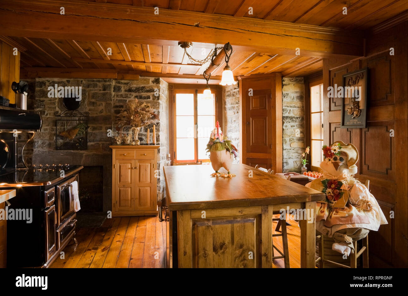 Partial view of the kitchen with an island containing the dishwasher in an old circa 1750 Canadiana fieldstone home - Stock Image