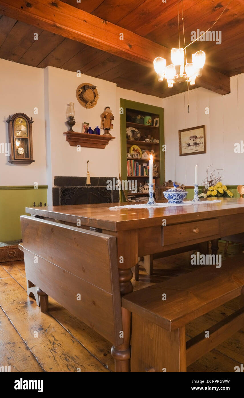 Remarkable Table And Benches In The Dining Room Of An Old Circa 1850 Ibusinesslaw Wood Chair Design Ideas Ibusinesslaworg