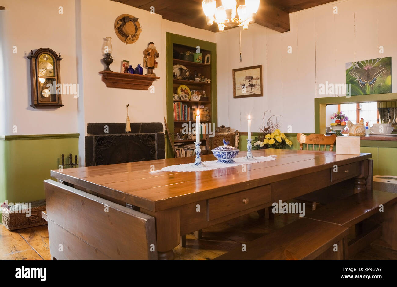 Brilliant Table And Benches In The Dining Room Of An Old Circa 1850 Ibusinesslaw Wood Chair Design Ideas Ibusinesslaworg