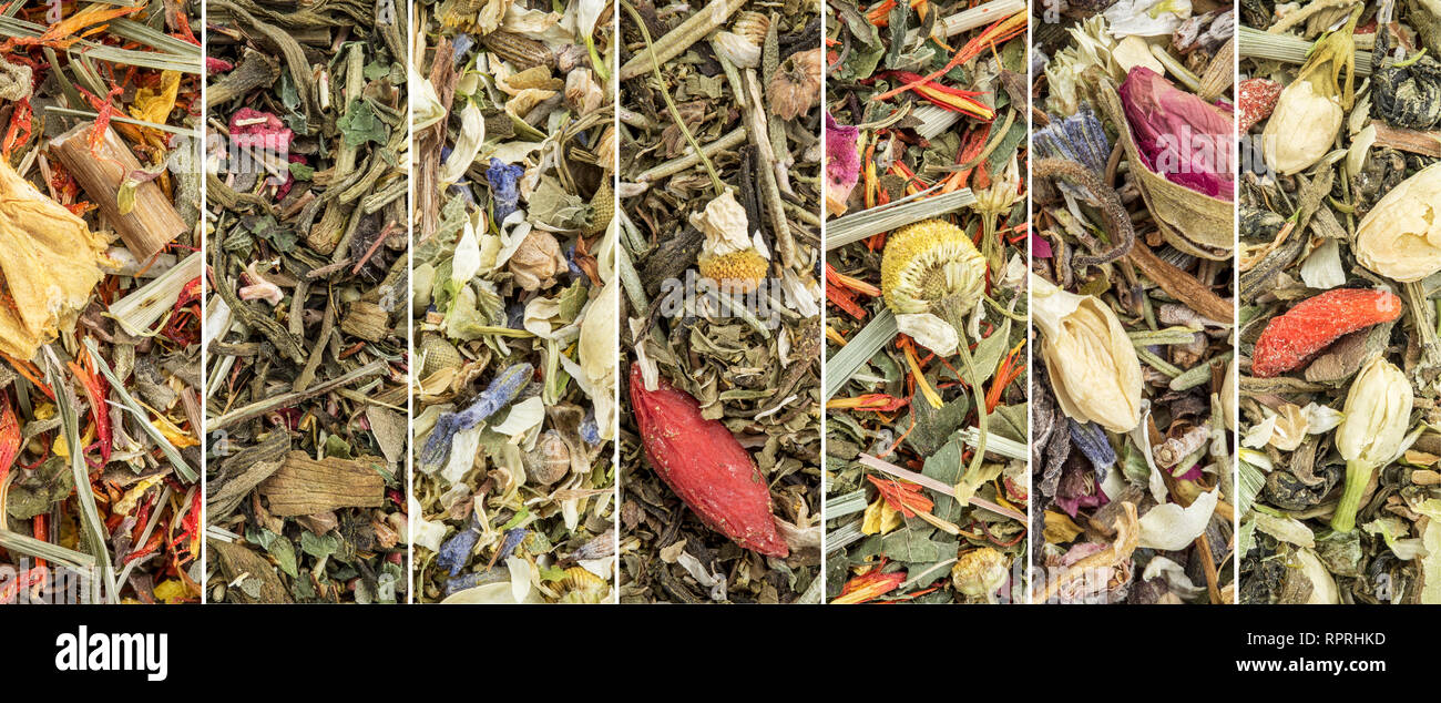 Chinese loose leaf herbal blend tea collection - a collage of macro background images - Stock Image