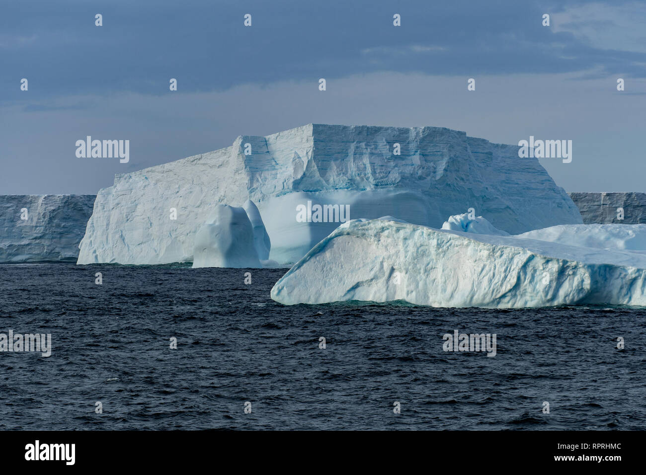 Icebergs near South Orkney Islands - Stock Image