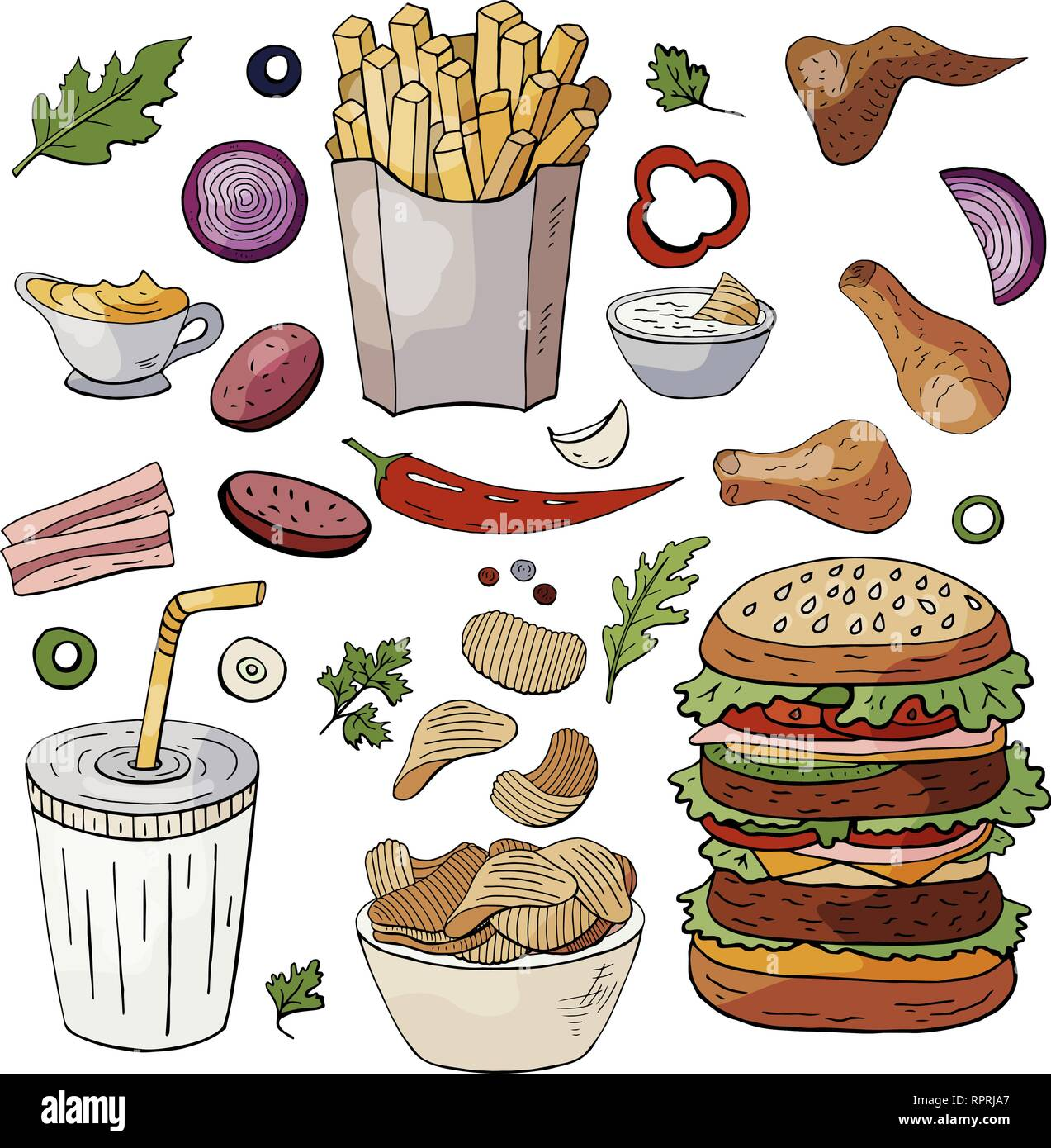 Set og hand drawn fast food elements. Vector doodle fast food isolated on white background Stock Vector