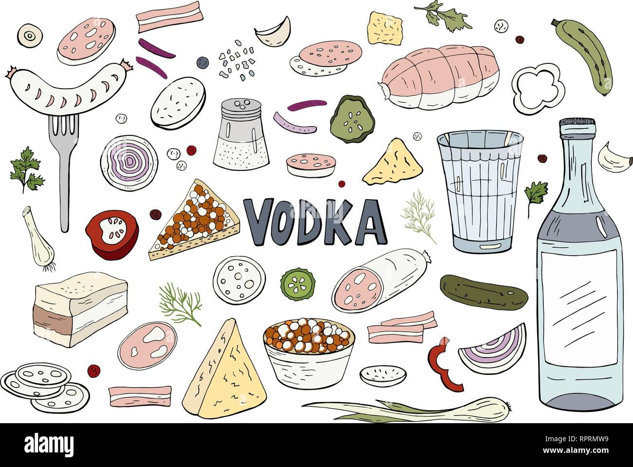 Set of hand drawn russian vodka and different food isolated on white background. Vector Russian vodka - Stock Vector