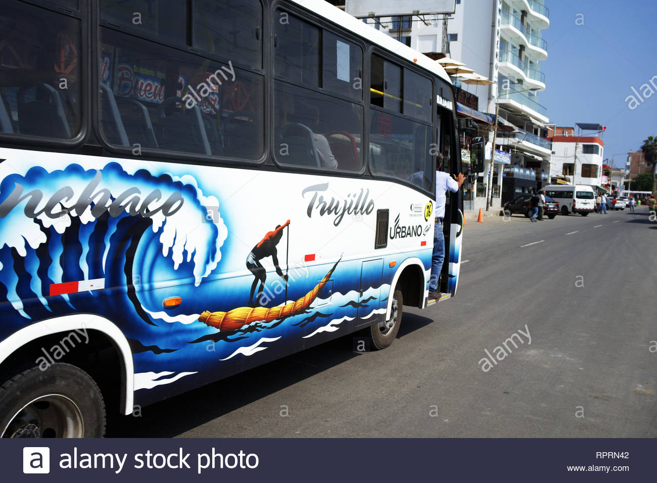 Bus from Trujillo to Huanchaco beach Peru - Stock Image