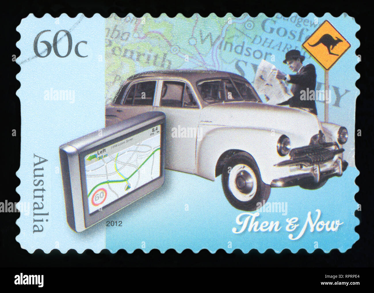 AUSTRALIA - CIRCA 2012: A stamp printed in Australia dedicated to Technology - Then and Now, circa 2012 - Stock Image