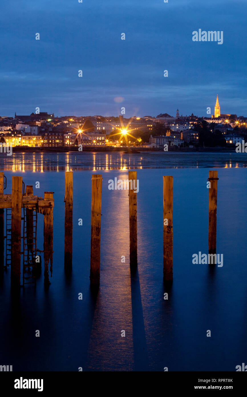 Seafront, Pier, Low tide, Parade, Church, Piles, sea, sand, Ryde, Isle of Wight, England, UK Stock Photo