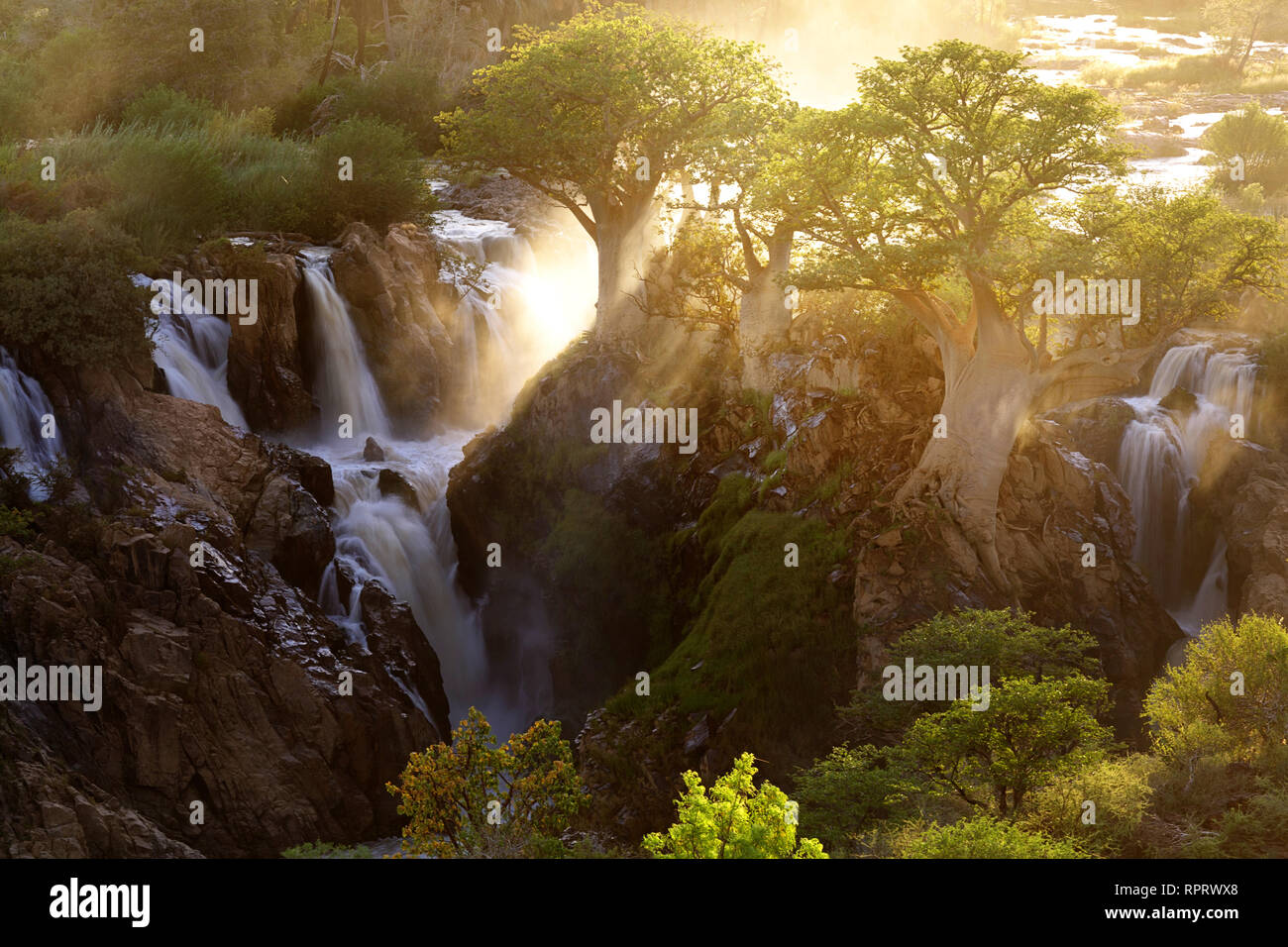 Epupa Falls at Sunrise, Kunene Region, Namibia - Stock Image
