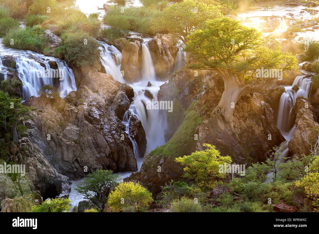 Epupa Falls at Sunrise, Kunene Region, Namibia - Stock Image