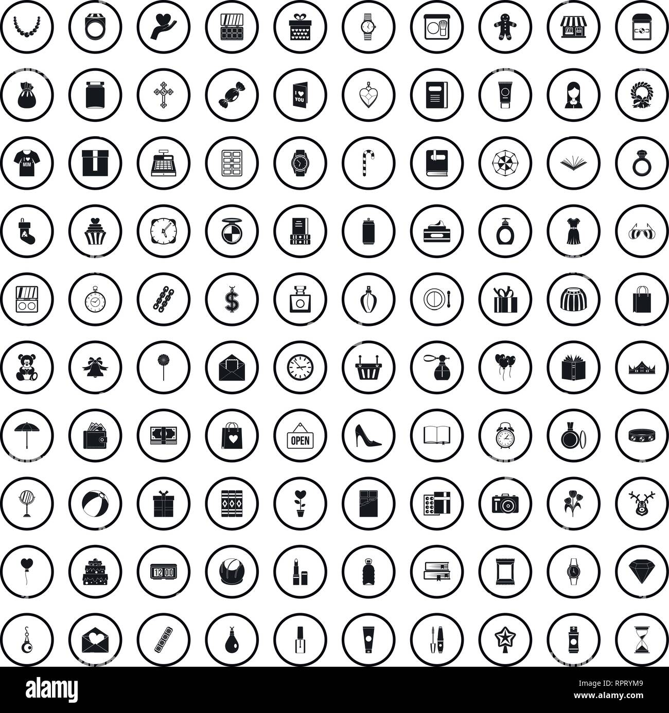 4007c552 100 gift shop icons set, simple style Stock Vector Art ...