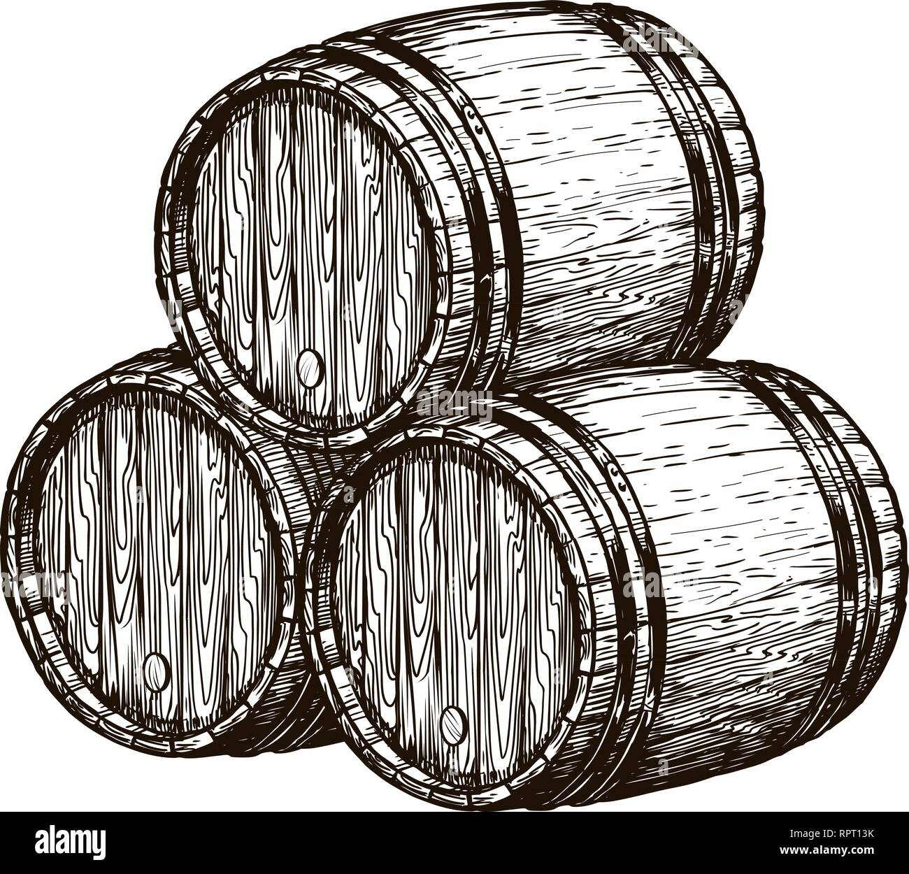 Wooden wine barrels. Winemaking, wine cellar, alcoholic drink sketch. Hand drawn vintage vector illustration Stock Vector