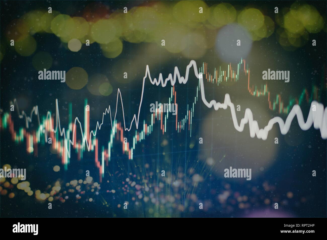 Abstract glowing forex chart interface wallpaper. Investment, trade, stock, finance and analysis concept. Stock Photo