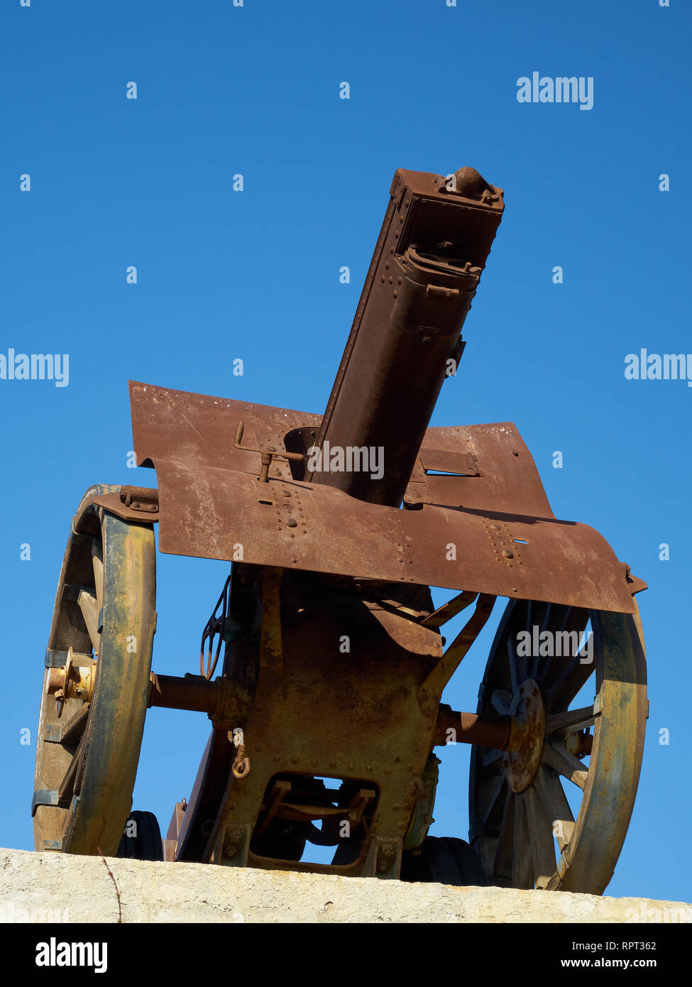 Schneider cannon in la Batería Park. Torremolinos, Málaga, Spain. Stock Photo