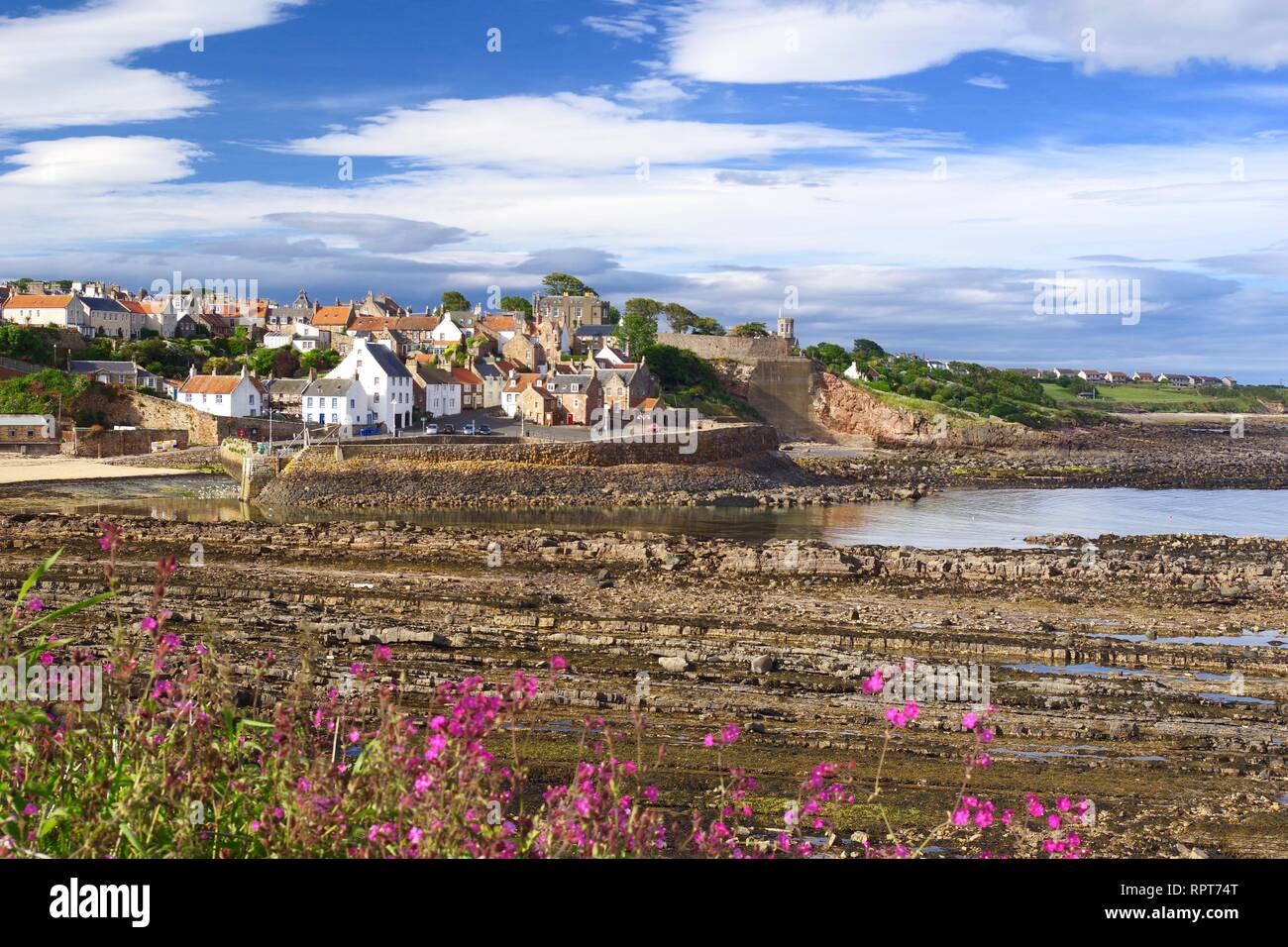 Small Medieval Harbour and Fishing Village of Crail, along the Fife Coast in Summer. Scotland, UK. Stock Photo