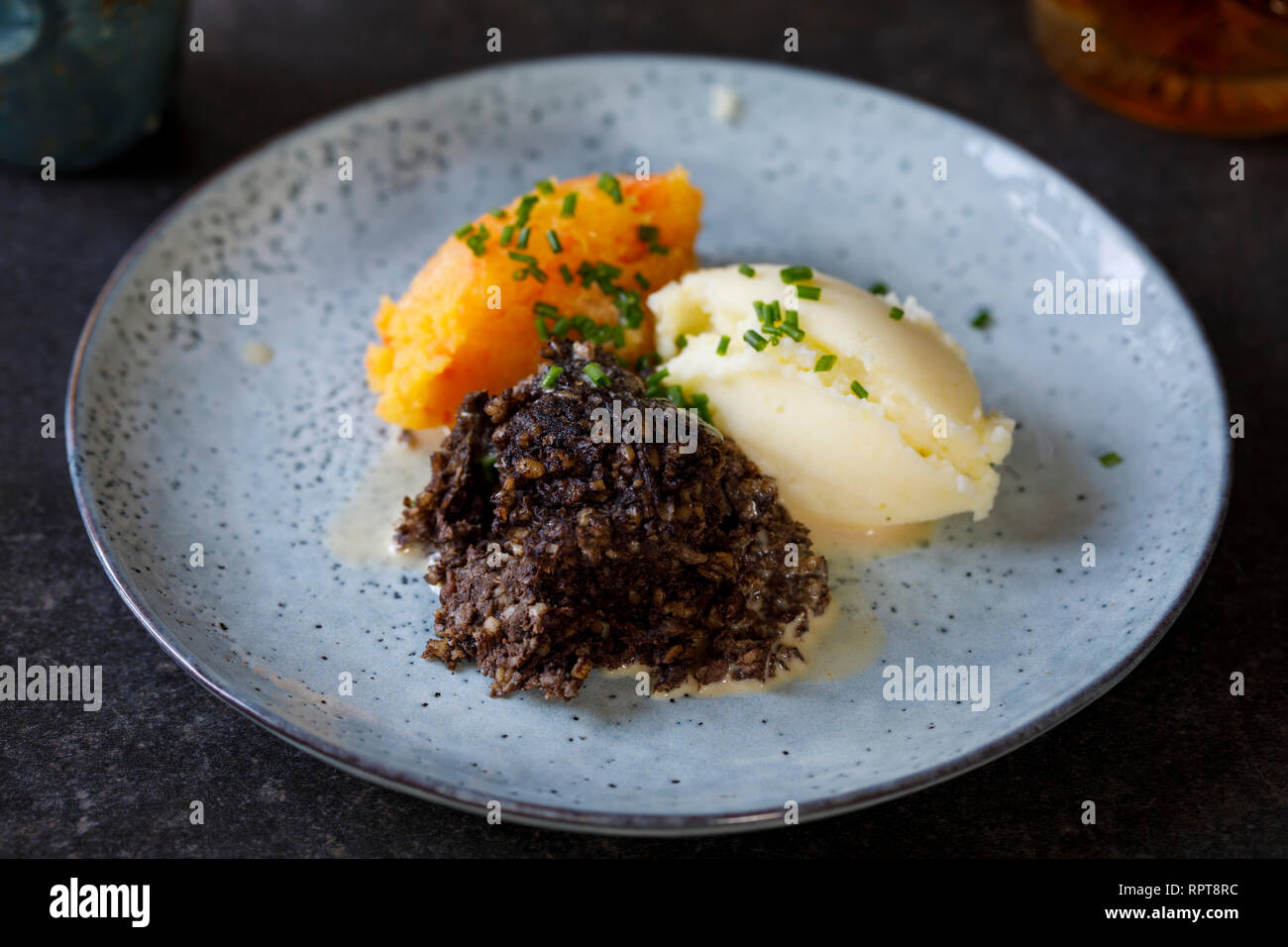 Scottish dish of haggis, neeps and tatties, meal served traditionaly on Burns night Stock Photo