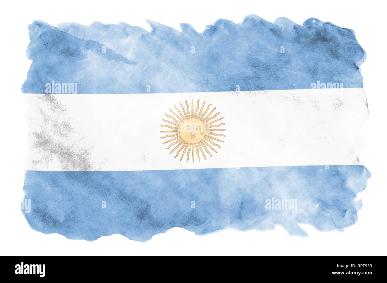 Argentina Flag Is Depicted In Liquid Watercolor Style Isolated On White Background Careless Paint Shading With Image Of National Flag Independence Stock Photo Alamy