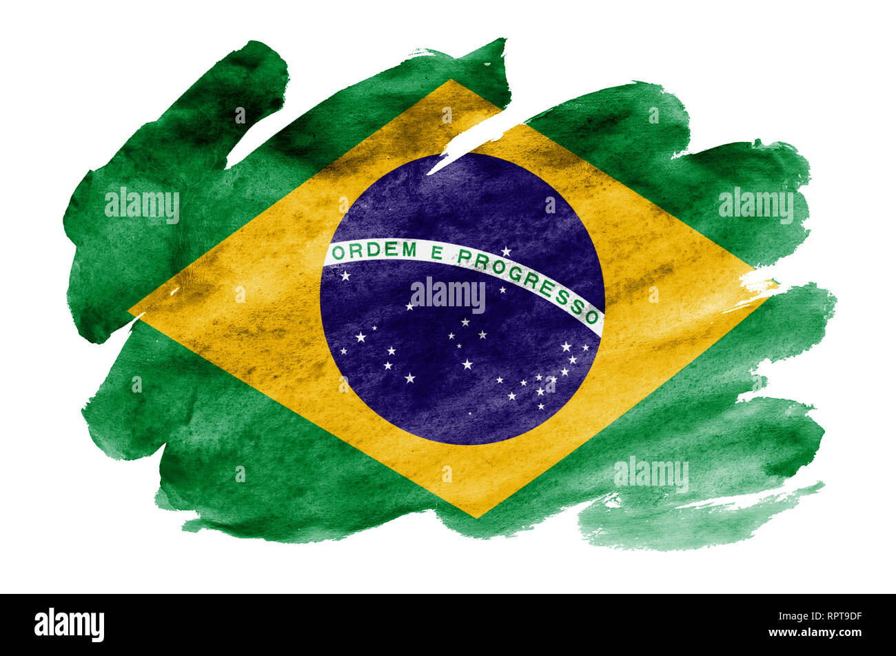 Brazil flag  is depicted in liquid watercolor style isolated on white background. Careless paint shading with image of national flag. Independence Day - Stock Image